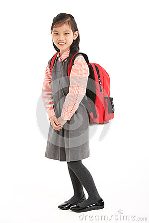 Studio Shot Of Chinese Girl In School Uniform
