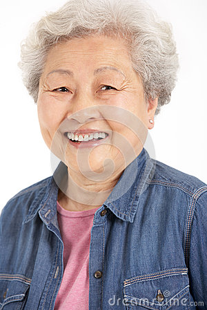 Studio Shot Of Chinese Senior Woman