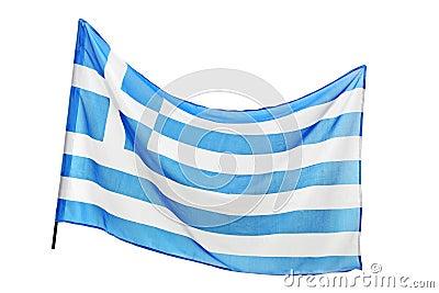 A studio shot of a flag of Greece waving