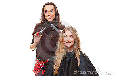 Studio shot of hairdresser and young woman