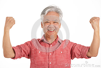Studio Shot Of Jubilant Chinese Senior Man