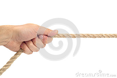 Single Hand Pulling Rope On White Background Royalty Free