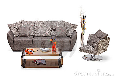 Studio shot of a modern furniture, sofa and chair