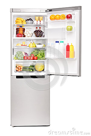 Free Studio Shot Of An Open Fridge Full Of Healthy Food Products Royalty Free Stock Photo - 32409245