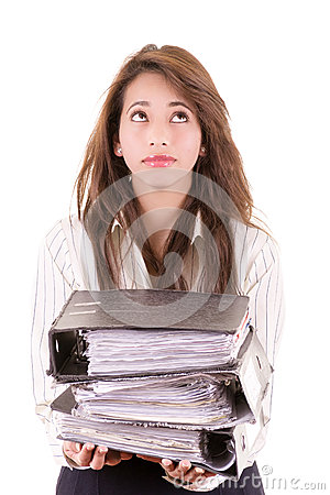 Studio shot portrait of businesswoman carrying