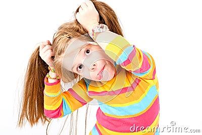 Studio shot of pretty little girl