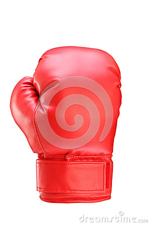 A studio shot of a red boxing glove