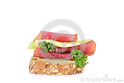 A studio shot of a sandwich