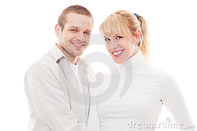 Studio shot of smiley couple