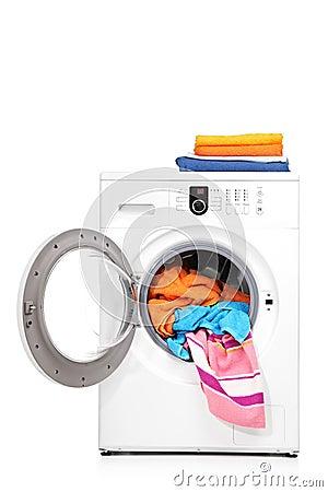 A studio shot of a washing machine