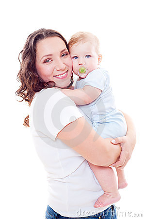 Studio shot of young mother and son