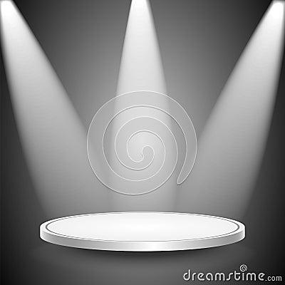 Studio and spotlights.scene illuminated by the ray