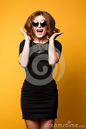 Free Studio Spring Fashion Portrait, Sweater Sunglasse, Dress, Happy Joyful Emotions, Jumping Dancing And Smile, Bright Royalty Free Stock Photos - 68198858