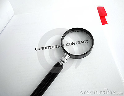 Study conditions of contract with magnifier