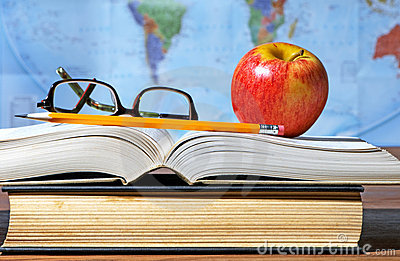 Study Desk With Apple And Books