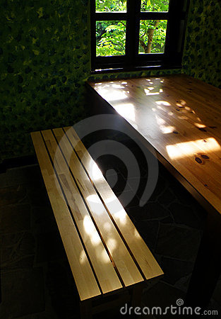 Study interior with natural style furnishing