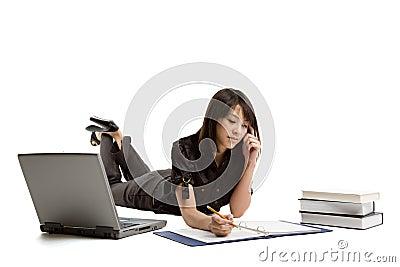 Studying asian girl
