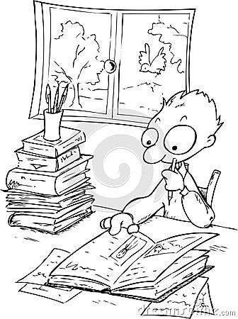 Studying boy-bw illustration