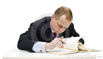 Studying businessman