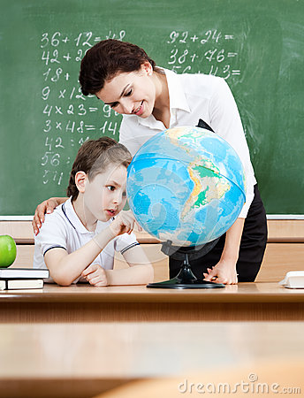 Free Studying Geography With Terrestrial Globe Royalty Free Stock Photography - 26219097