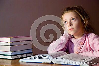 Studying girl & books