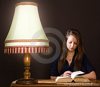Studying at home late night.