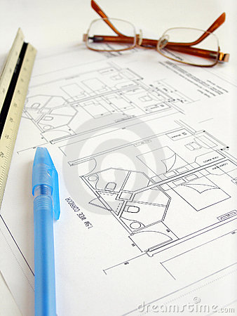 Free Studying Hotel Building Plans Royalty Free Stock Photo - 8344195