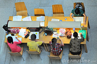 studying together  Editorial Stock Image