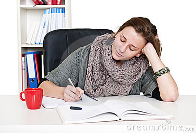 Studying woman