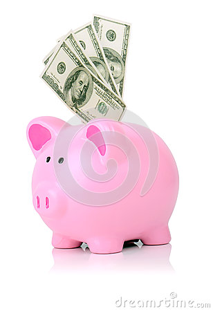 Stuff piggy with 100 bills