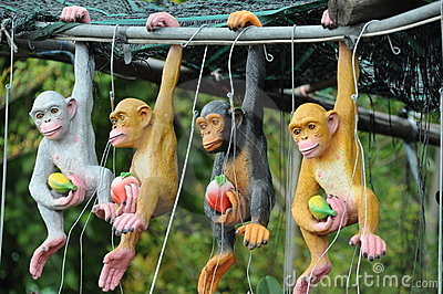 Stuffed animals of a monkey