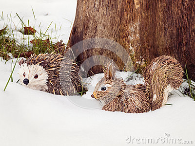 Stuffed Animals in Snow