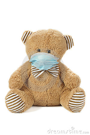 Stuffed bear in madical mask