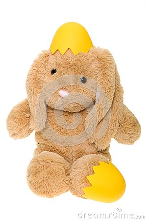 Stuffed Bunny Hatching from Yellow Egg
