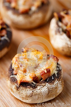 Free Stuffed Champignons With Ham And Cheese Stock Photo - 34405870