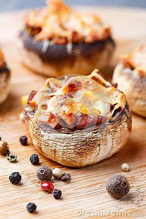 Free Stuffed Champignons With Ham And Cheese Royalty Free Stock Photo - 34481375