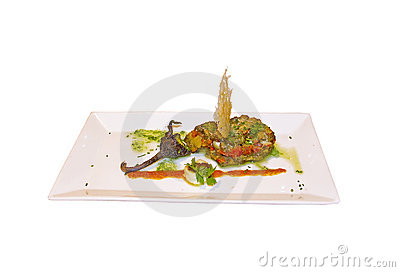 Stuffed eggplant with garnish