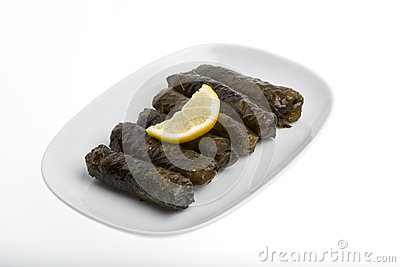 Stuffed grape leaves with olive oil
