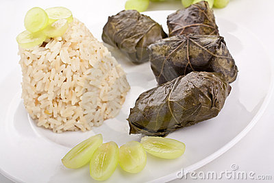 Stuffed grape leaves with rice