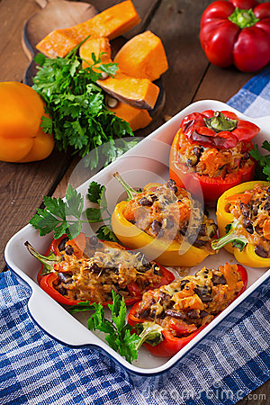 Free Stuffed Peppers With Rice, Beans And Pumpkin Royalty Free Stock Photography - 58654567