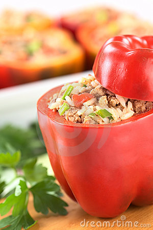 Free Stuffed Red Bell Pepper Royalty Free Stock Photography - 19842907