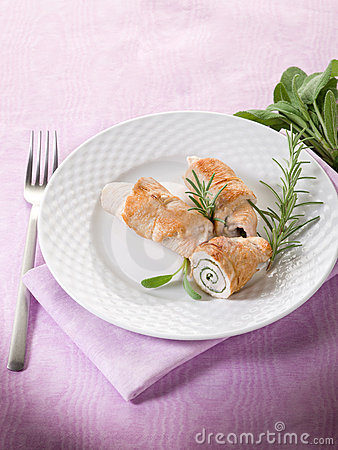 Stuffed roll of turkey with sage