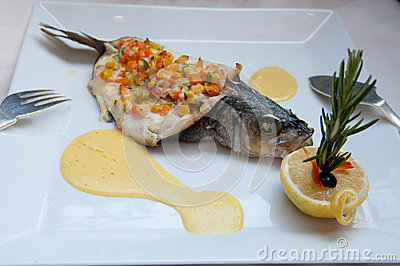 Stuffed Sea Bass with vegetables