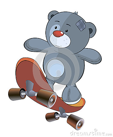 The stuffed toy bear cub and skateboard cartoon
