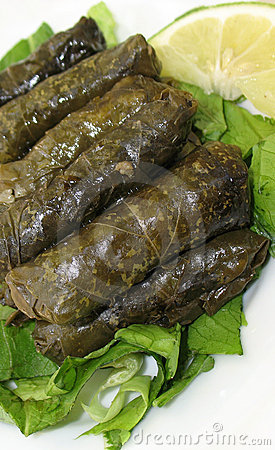 Stuffed Vine Leaves Platter on White
