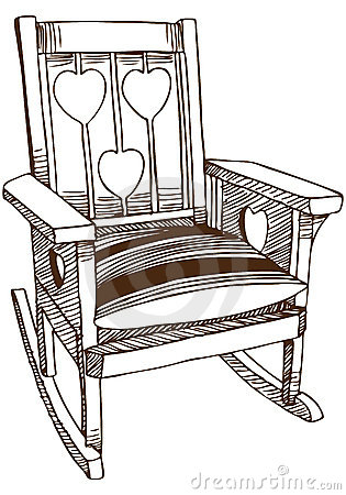 Übergeben Sie gezogene Skizze eines Stuhls mit Kissenkissen.