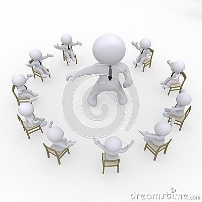 Sitzen Sie Kreis mit einer Gruppe und einem Chef vor.