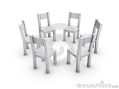 Ein getrennter Kreis von den einfachen grauen Stühlen auf weißem ...