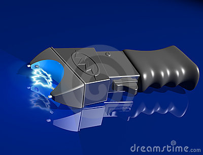 Stun gun on shiny surface