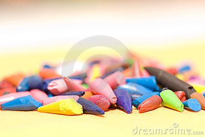 Stung broken colored pencils